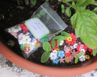 100 Vintage Plastic Flowers In All Shapes, Colors And Sizes, Wild Flower Mix
