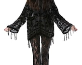 SALE 20% OFF // Black Magic Brocade Velvet Burnout Beaded Fringe Tassel Kimono