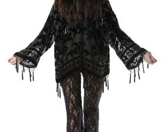 SALE 20% OFF // Black Magic Brocade Velvet Burnout Beaded Fringe Tassel Kimono