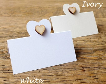 Wooden Love Heart Place Cards, Wedding Place Cards, Place Cards, Table Place Cards, Table Cards, Seat Cards, White, Ivory, Rustic, Wood PC01