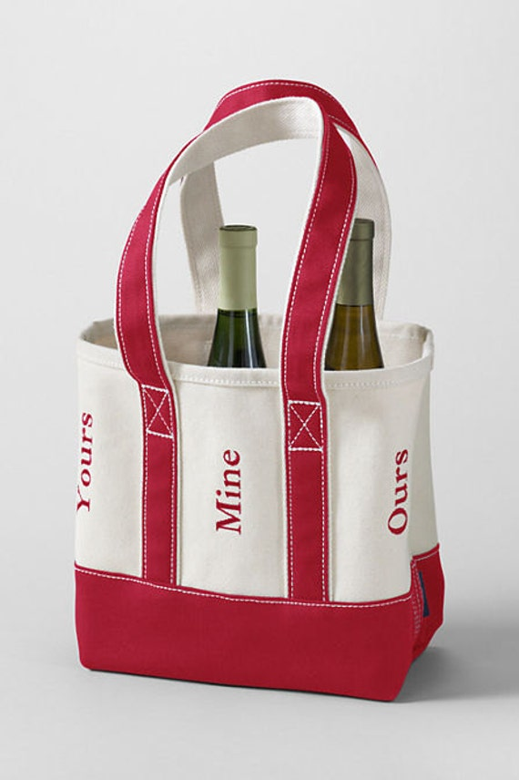 monogrammed personalized red 6 bottle wine tote includes 3