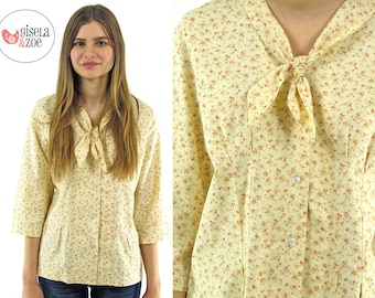 Vintage 60s Floral Calico Ascot Top ΔΔ Floral Prairie Top Boho Cotton Top ΔΔ md / lg