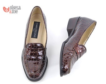 90s Evan-Picone Patent Leather Faux Snake Loafers | Minimalist Leather Loafers 80s Shoes Preppy Loafers | size 5.5 M