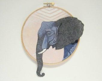 "Embroidery Hoop Art - Original Acrylic Painting with Hand Sewn Felt Accents - Elephant Wall Art - Elephant Nursery Decor - 6"" Hoop"