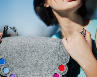 Colorful lovely handmade fashionable Medium Size Felt Bag with Dots