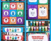 Monster Birthday Invitation & Party Decorations - full Printable Collection - INSTANT DOWNLOAD with EDITABLE text - you personalize at home