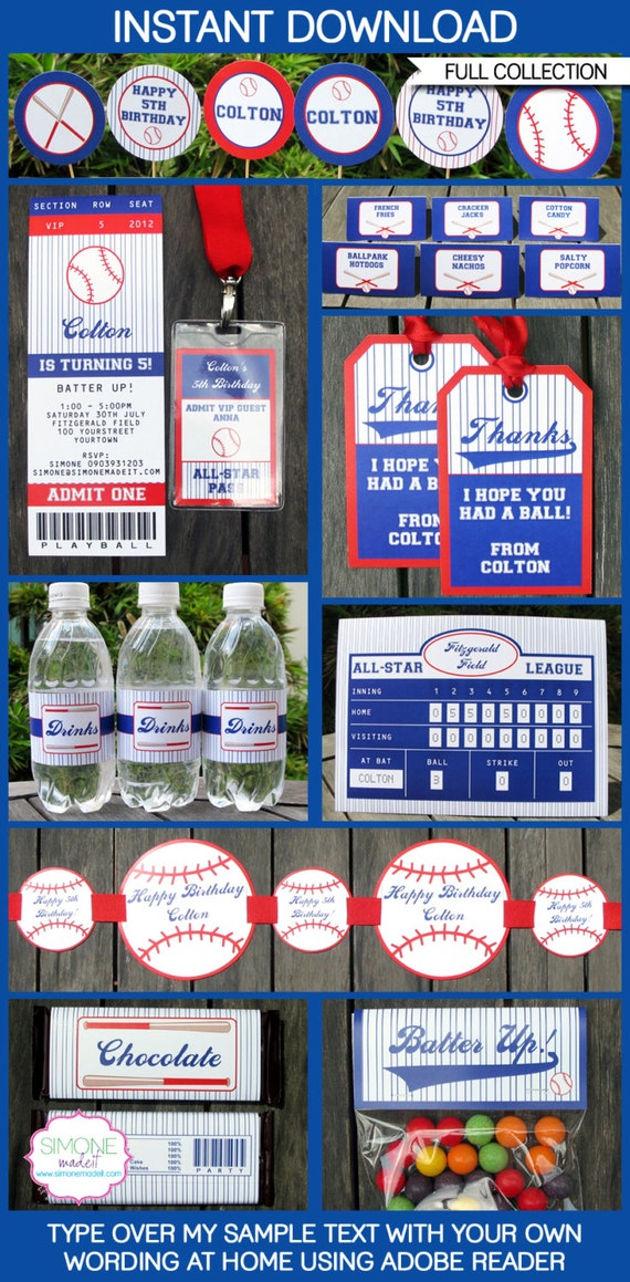 baseball party invitations amp decorations full by simonemadeit