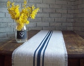 Burlap Table Runner 10 x 48 - 12 x 48 - 14 x 48 - with Navy Blue Grain Sack Stripes - Other Colors Available - Beach Table Runner