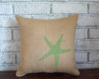 Burlap Starfish Pillow - Decorative Beach Pillow - Seastar Pillow - Nautical - Coastal Home Decor - Accent Pillow - More Colors Available