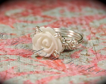White Rose Ring,  Ivory Rose Ring, Prong Set Ring,  Bridal Jewelry,  Maid of Honour, Maid of Honor - White Rose Ring - size 7