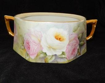LIMOGES sugar bowl-France Limoges fine porcelain-French Limoges handled bowl- floral rose-cottage chic -loral collectible sugar bowl