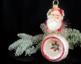 Victorian Christmas Ornament - Holly Santa || Victorian ornament, handmade, vintage, antique, Santa Claus, red, green