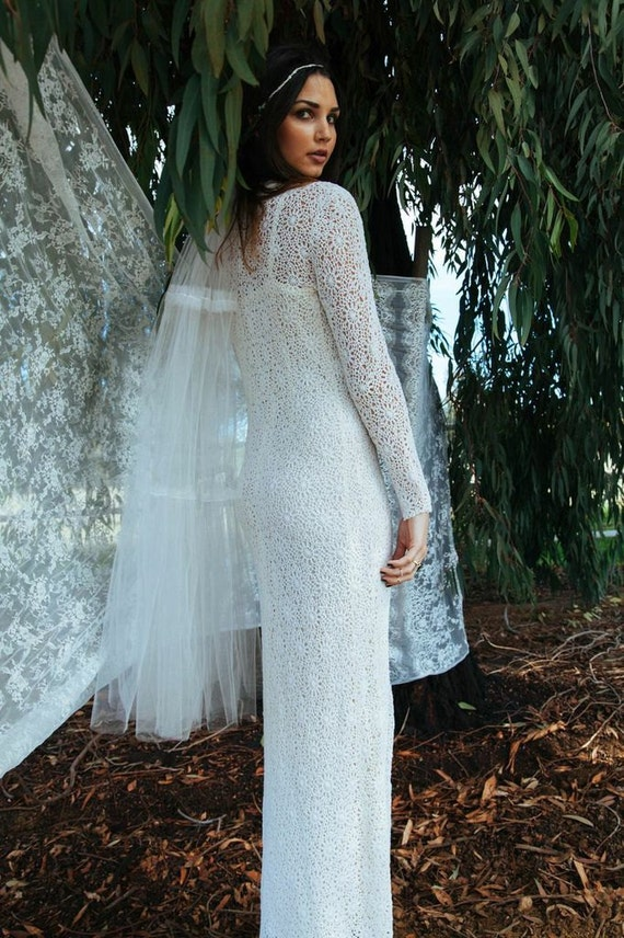 Bridal Shower White Lace Bohemian Dress Vintage Long Sleeves