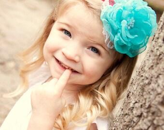 Turquoise headband Baby girl headband Turquoise flower Baby headband Infant headband Flower headband Toddler headband Newborn headband