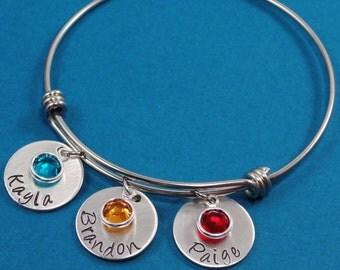 Hand Stamped Jewelry - Personalized Bracelet - Bangle Bracelet - Charm Bracelet - Personalized Mom Jewelry