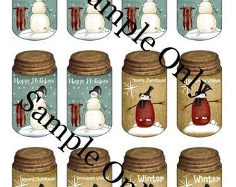 Printable Hang Tags - Snowman Mason Jar - Digital PDF File - Instant Download