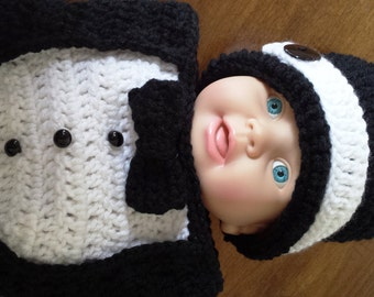 Tuxedo Hat and Cocoon Crochet Pattern, 0 to 3 mon