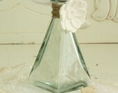 Vintage Green Glass Bottle - Glass Bottle Collectible - Vintage Home Decor - Handmade Decorative Flower on Bottle