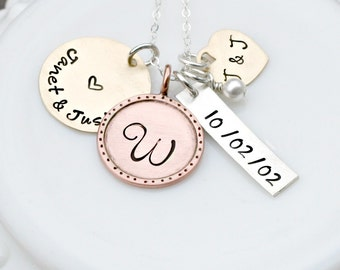 Personalized Necklace- Hand Stamped Necklace- Family Jumble Necklace - Mixed Metal Necklace - Mothers Day Gift