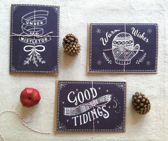 Items similar to chalkboard christmas card set on etsy for Chalkboard christmas cards