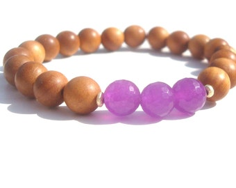 purple jade and sandalwood mala bracelet. rosewood also available.