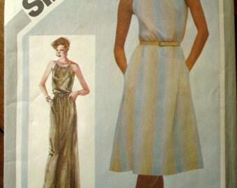 Halter Dress Vintage 80s sewing pattern maxi dress evening gown long dress Simplicity 5127 womens medium size 14 16
