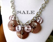 Lilac Vintage Button Statement Necklace - Bib Necklace with Mauve Vintage Buttons and Beads - Weddings