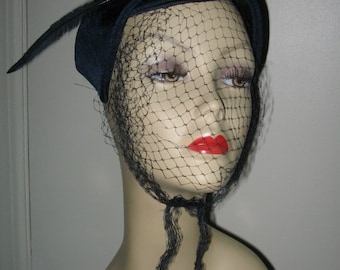 VINTAGE 1950's VEILED HAT, Navy Blue Womens' Retro Hat
