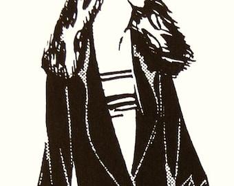 1920s fur collar, semi-striped coat.