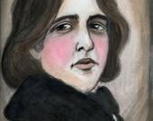 Oscar Wilde Literary Portrait Print, Victorian Author Illustration (6x8)