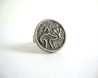 Vintage Jorgen Jensen Ring: Woman Holding Flowers vintage Danish pewter Jorgen Jensen adjustable ring