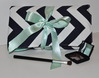 Navy and Mint Padded Brush Organizer // Chevron Makeup Brush Storage  - Makeup Brush Roll - Gift for Her - Beauty Gift Idea - Made to Order