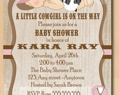 Cute cowgirl baby shower invitation, baby with pink cowgirl hat, printable cow girl shower or first birthday invite, printable DIY