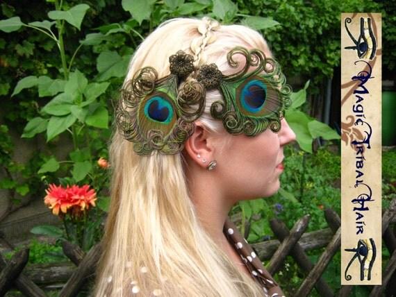 2 x STEAMPUNK neo victorian PEACOCK feather FASCINATOR hair jewelry clip barrette Faery Fantasy Wedding headpiece Larp costume accessory