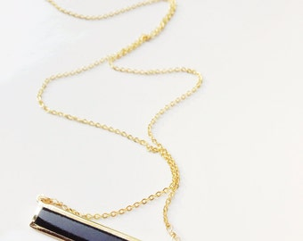 Gold Bar Necklace Simple Gold Necklace Modern Necklace Agate Necklace Simple Bar Necklace Everyday Necklace