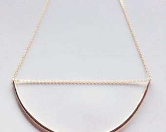 Arc Necklace Bar Necklace Semi Circle Necklace Mixed Metal Necklace Minimalist Necklace Simple Gold Necklace