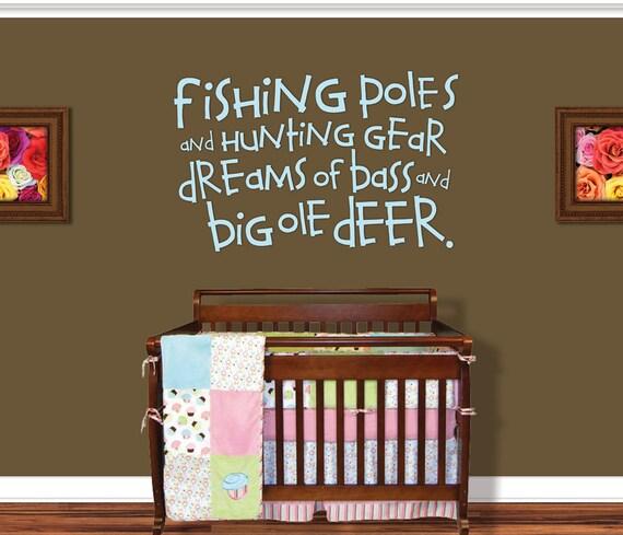 Fishing wall decal boy nursery decor nursery by for Fishing nursery bedding