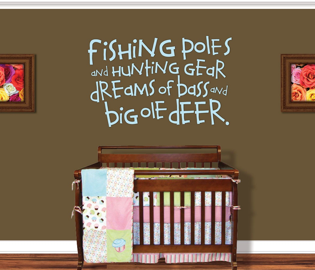 fishing wall decal boy nursery decor nursery by vinylthingzwalls. Black Bedroom Furniture Sets. Home Design Ideas