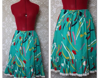 Vintage 1970's Turquiose Cotton Drawstring Skirt  M-XL