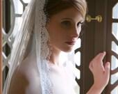 Fingertip veil, Bridal Veil, Light ivory drop veil, lace edge wedding veil, chapel length veil, waltz length wedding veil, eyelash lace