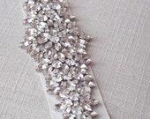 Wedding Belt, Crystal Bridal Dress Sash, Wedding Gown Bling, Crystal Applique Beaded Bridal Belt, Art Deco Wedding Sash, STYLE 302