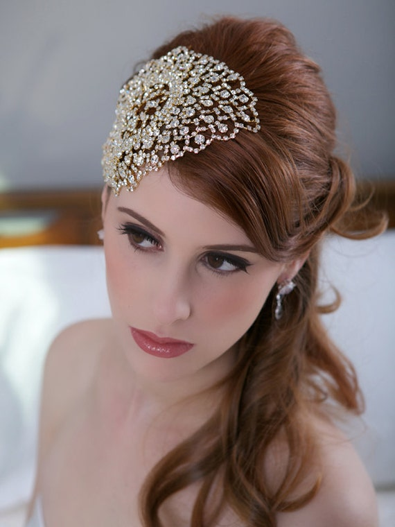 Gold Crystal Bridal Headpiece Art Deco Crystal Beaded Head