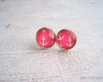 Anchor Earrings, Anchor Jewelry,Nautical Earrings, Pink Anchor Earrings, Yellow Anchor Earrings, Polka Dot Earrings,Summer Jewelry, Anchors