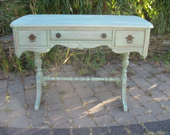 SOLD ** Chic and Shabby Sea Green Desk / Vanity / Table