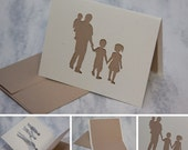 Fathers Day Card, Dad with 3 children — boy, girl, and baby