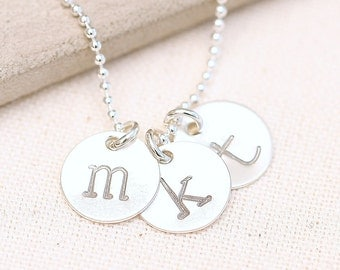 Hand Stamped Initial Necklace, Personalized Necklace, Mommy Necklace, Sterling Silver Mother's Necklace
