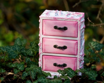 Rose Garden - Jewelry Cabinet, Rustic Cottage Chic Box, Jewelry Chest of Drawers, for her, Pink Treasury Chest
