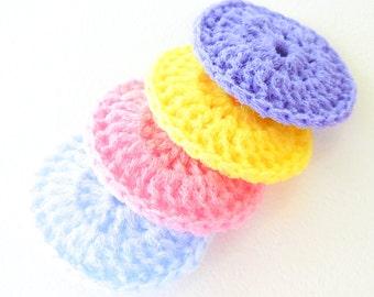 Pastel Crochet Nylon Pot Scrubbers - Set of 4 - Pink, Blue, Purple and Yellow - Dish Scrubbies