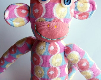 Gracie the SOCK MONKEY Handmade from Pink Blue Yellow Spot Socks Unique One-off Toy Mascot Long Legged Girl Toy Animal Girls Bedroom Spots