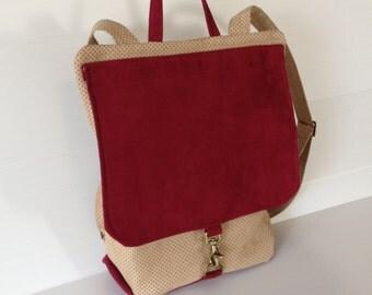 backpack, city backpack, city bag, secure backpack, red beige backpack, outside pockets, vegan bag